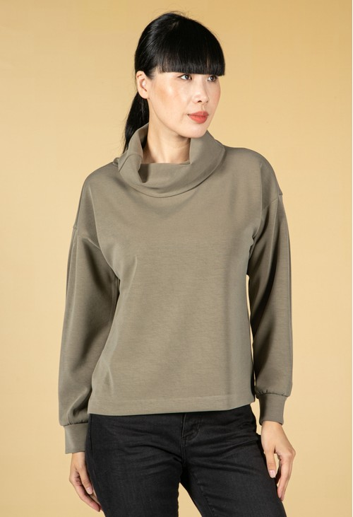 Opus Gracey Boxy Shirt in Soft Moss