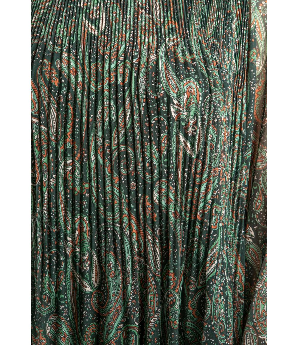 Emporium Paisley Print Pleated Dress in Green