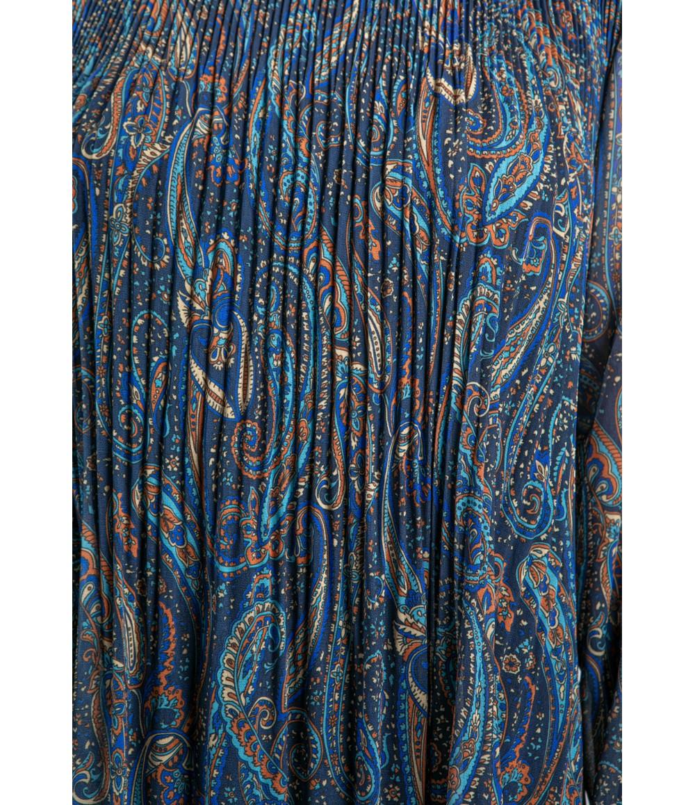 Emporium Paisley Print Pleated Dress in Navy