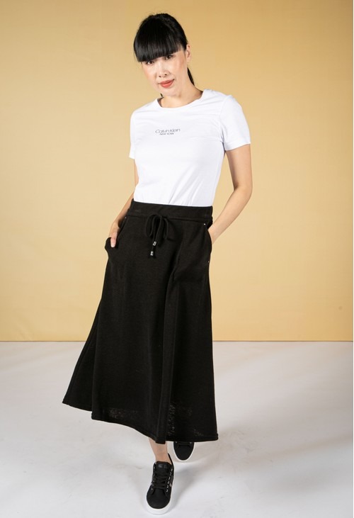 Zapara Drawstring Waist Knit Skirt in Black