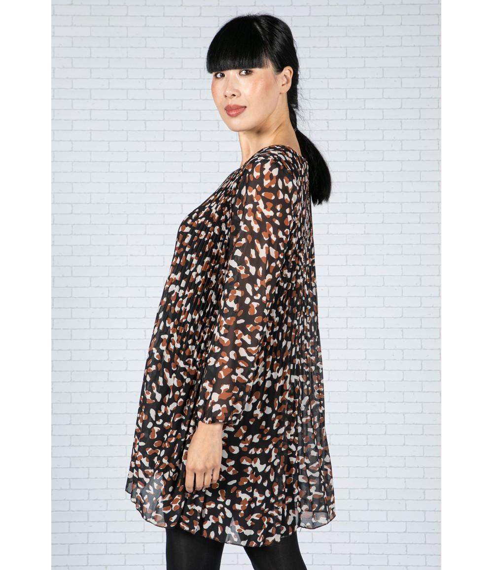 Emporium Animal Print Pleated Dress in Black & Brown