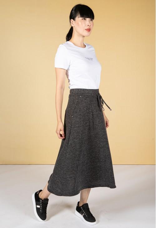 Zapara Drawstring Waist Knit Skirt in Charcoal