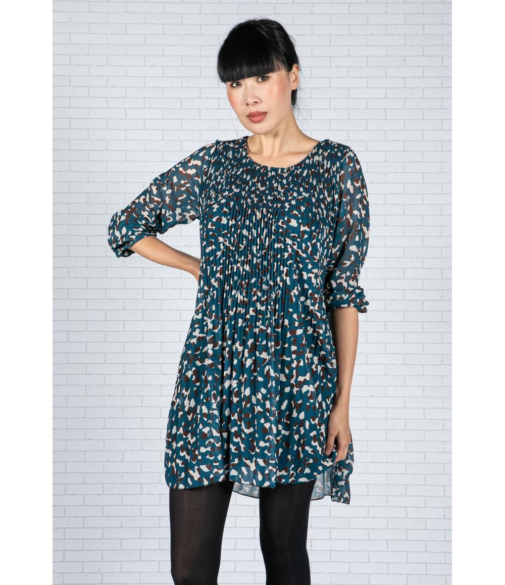 Emporium Animal Print Pleated Dress in Teal & Brown