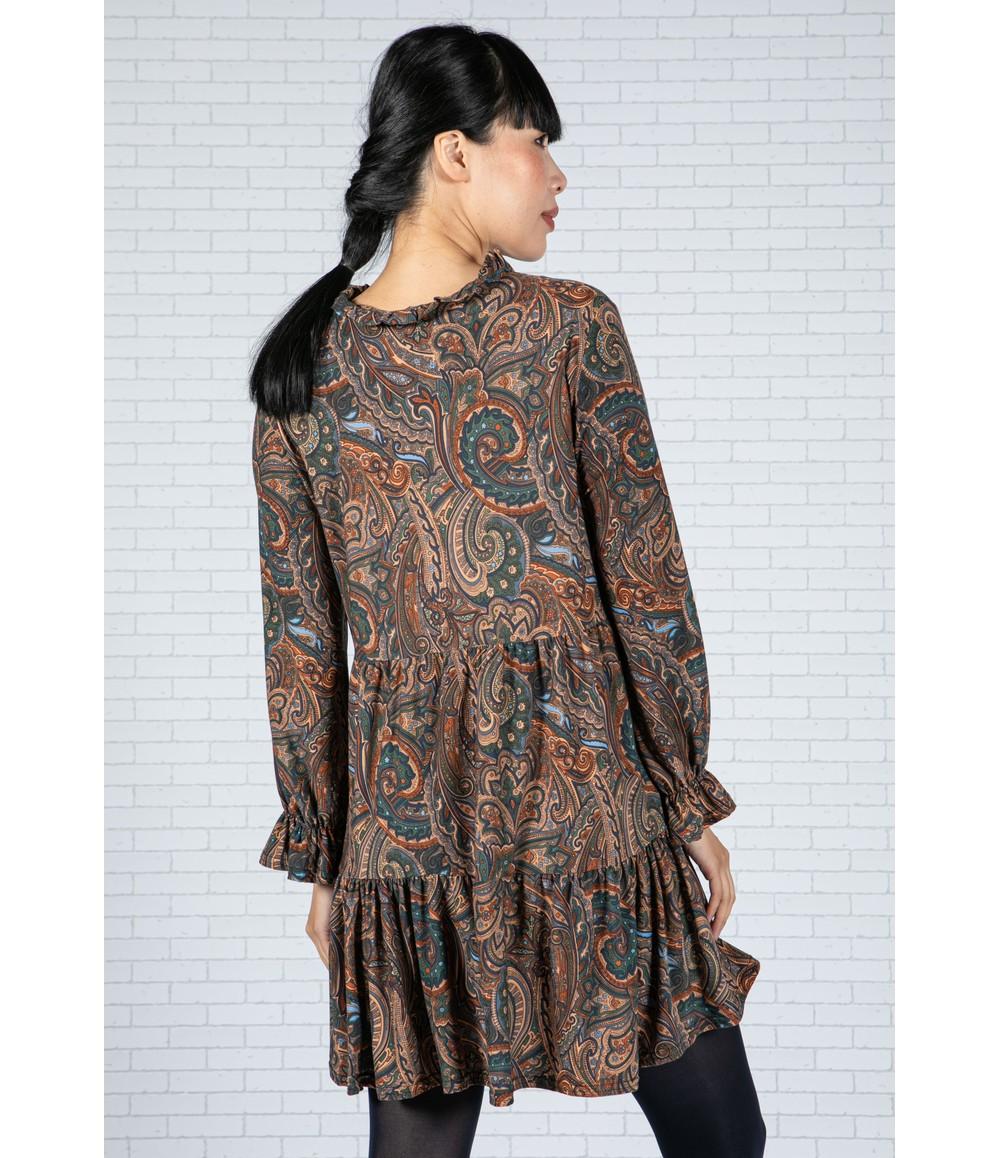 Sophie B Paisley V-Neck Dress in Teal