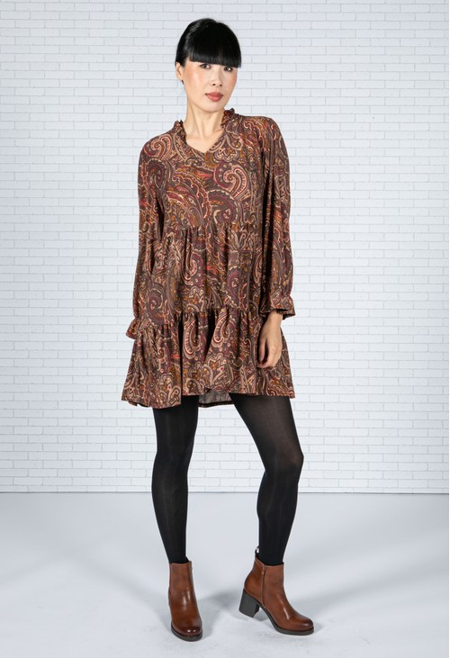 Sophie B Paisley V-Neck Dress in Maroon