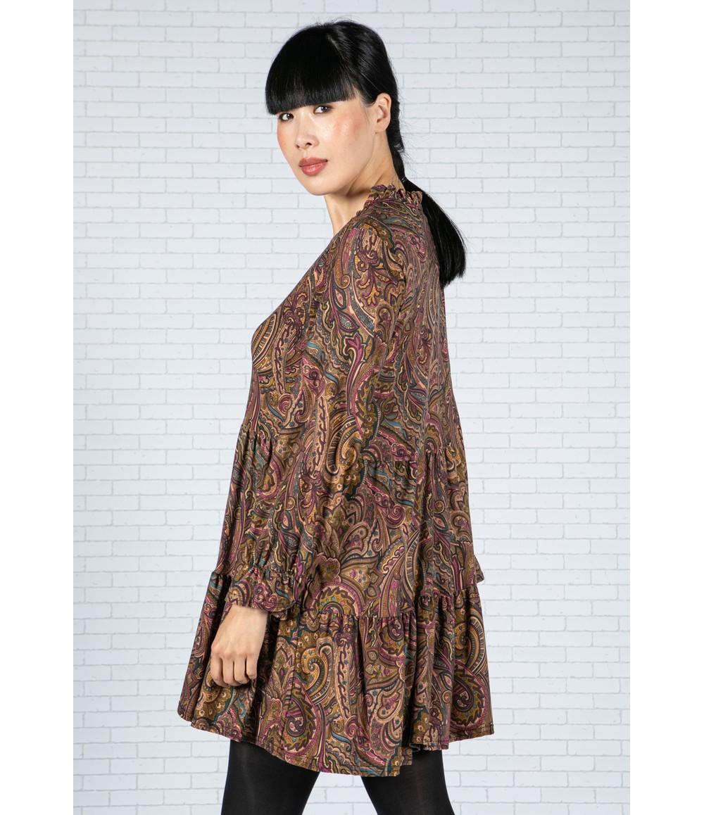 Sophie B Paisley V-Neck Dress in Wine