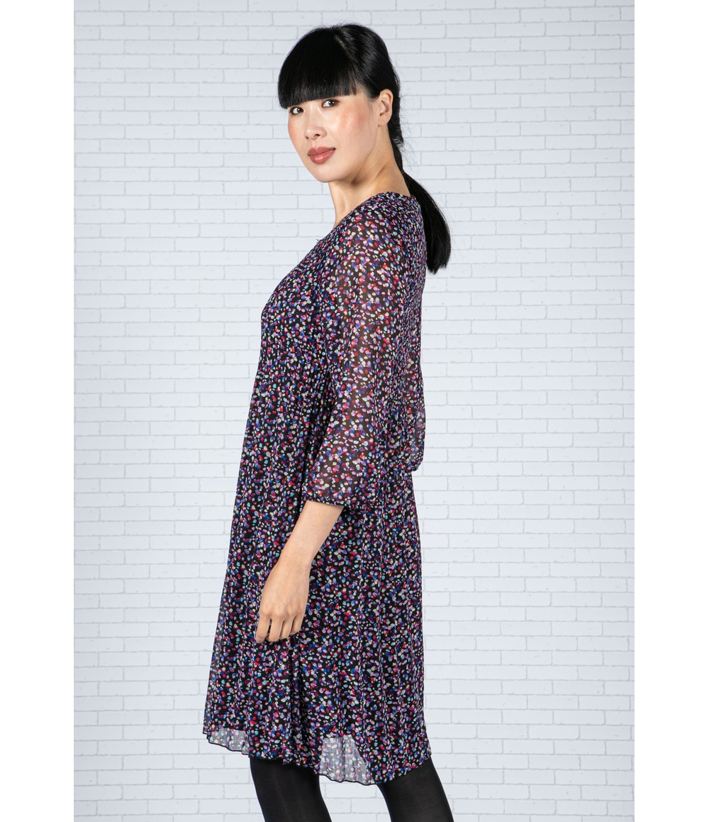 Sophie B Abstract Spotted Dress in Black