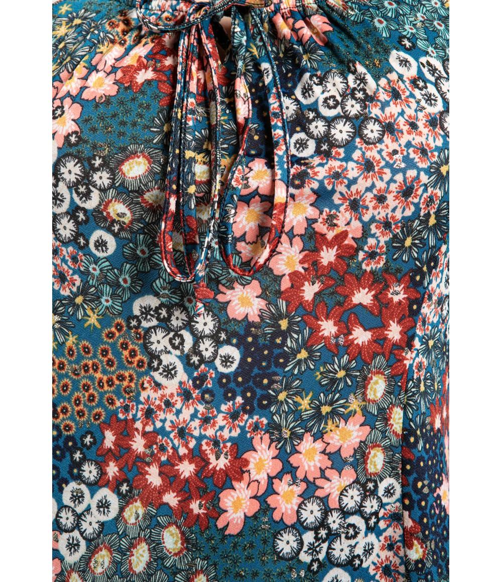 Sophie B Floral Bloom Print Dress in Teal