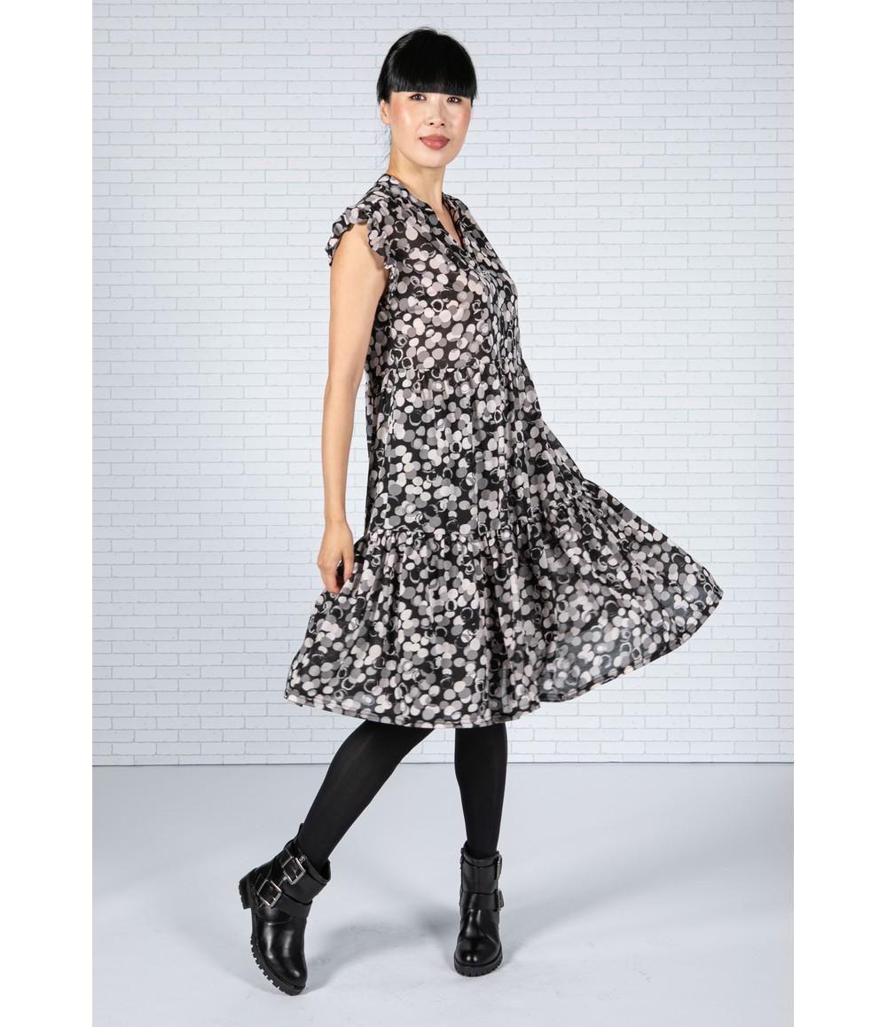 Pamela Scott Bubble Print Dress in Grey