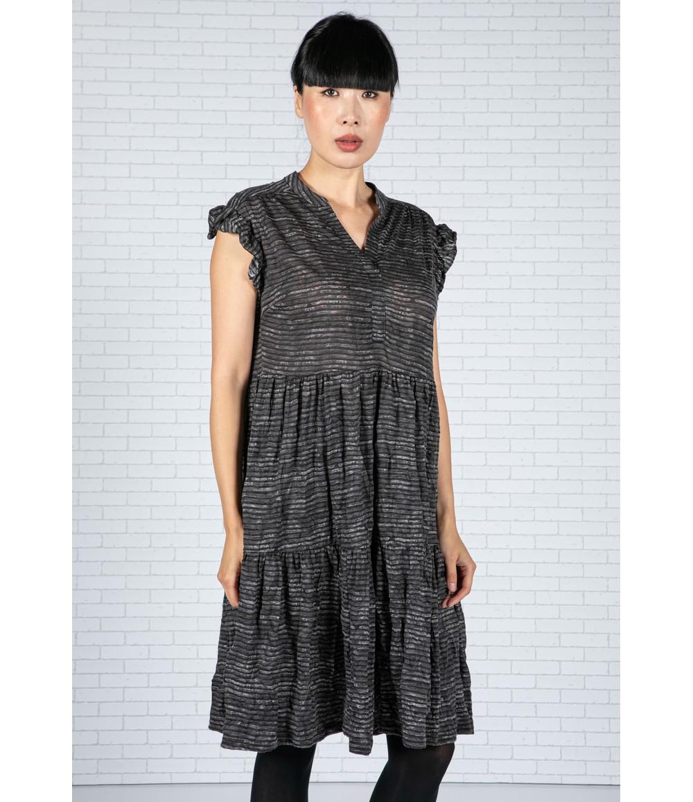 Pamela Scott Dark Stripe Dress in Grey