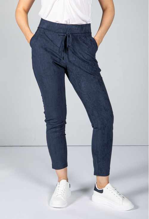 Sophie B Navy Faux Suede Joggers