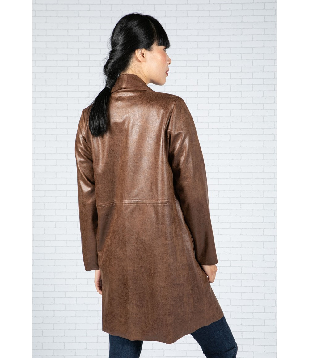 Sophie B Leather Look Open Jacket in Brown