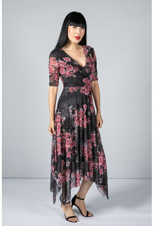 Pamela Scott Vintage Bloom Print Dress in Black