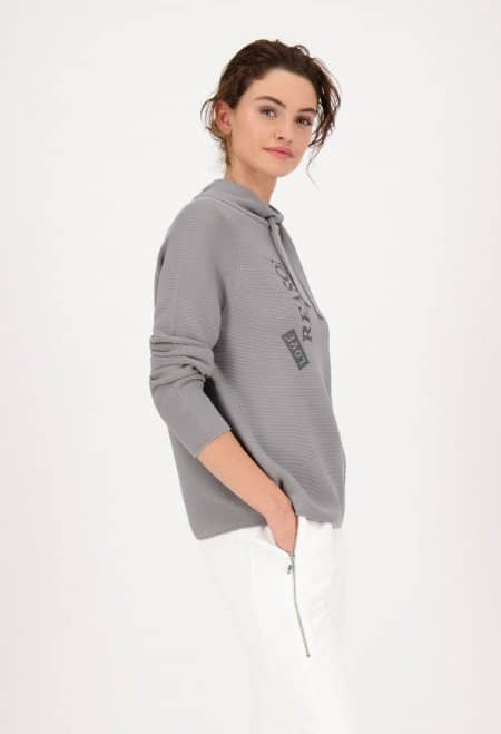 Monari STAND-UP COLLAR KNITTED JUMPER WITH RHINESTONES IN GREY