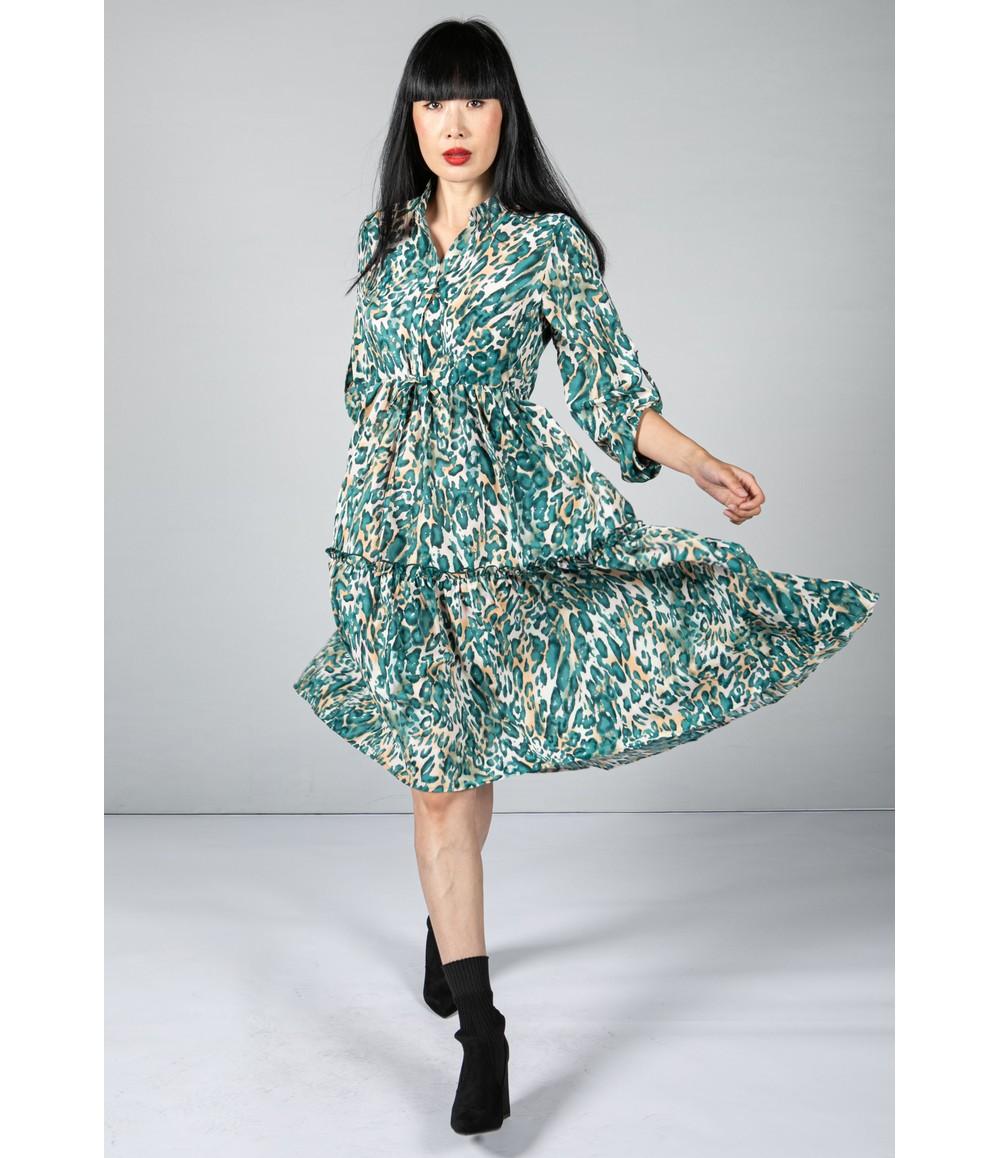 Pamela Scott Leopard Print Tiered Shirt Dress In Teal