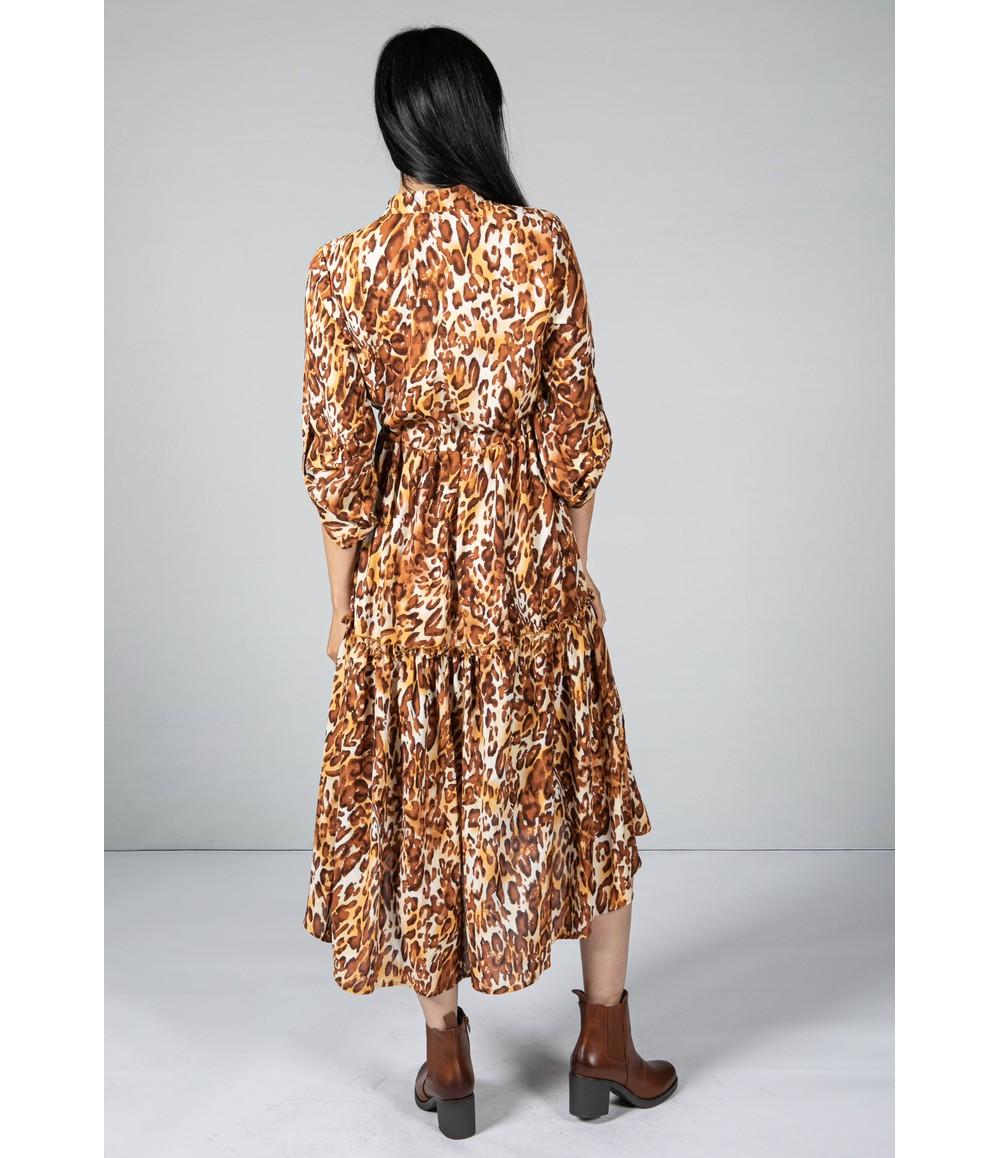 Pamela Scott Leopard Print Tiered Shirt Dress In Brown