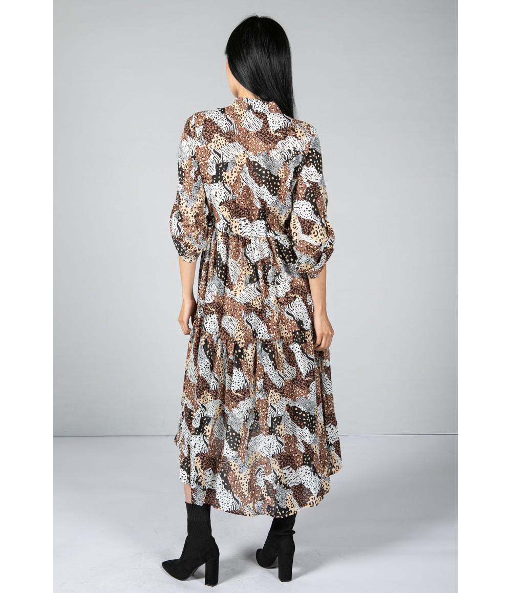 Pamela Scott Multi-Print Tiered Shirt Dress