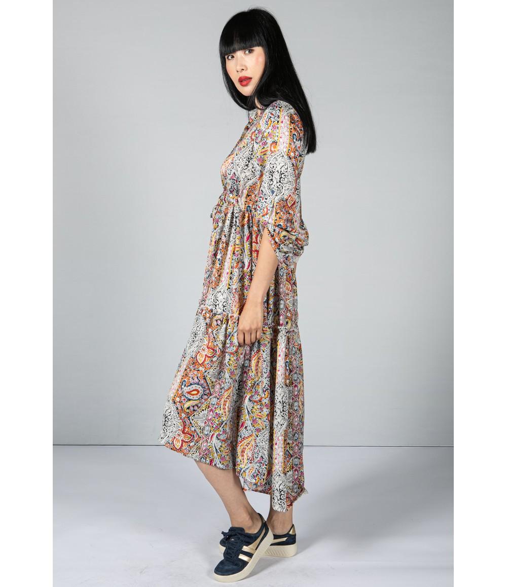 Pamela Scott Paisley Print Tiered Shirt Dress