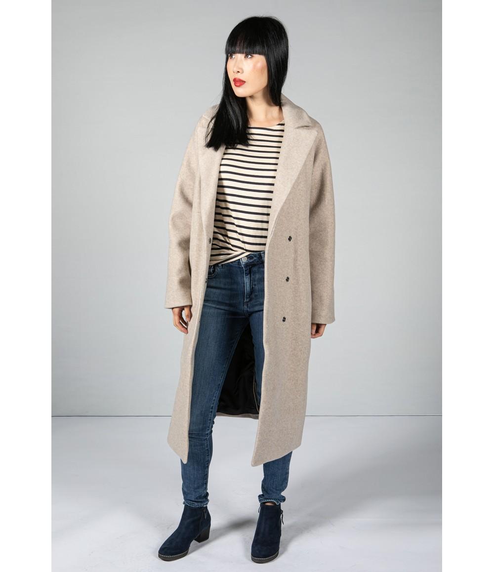 Pamela Scott Cream Cocoon Long Coat