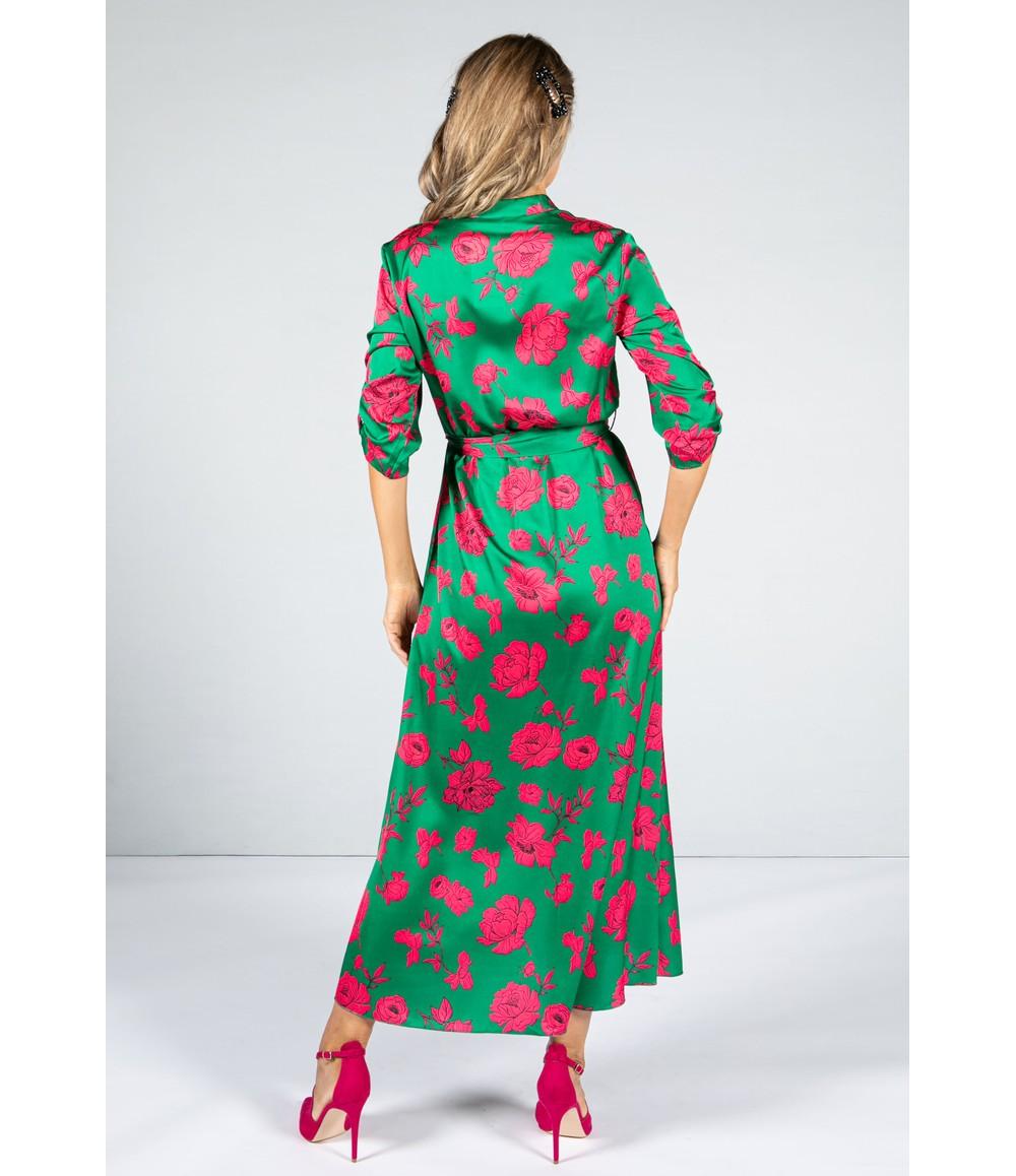 Zapara Silk Feel Dress in Fuchsia Rose with Double Split