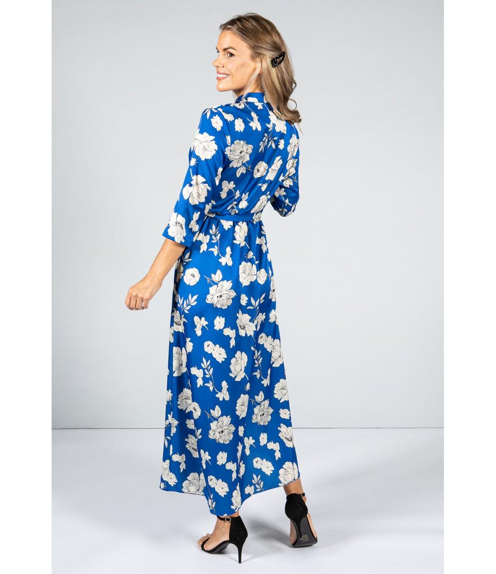 Zapara Silk Feel Dress in Royal Blue Rose with Double Split