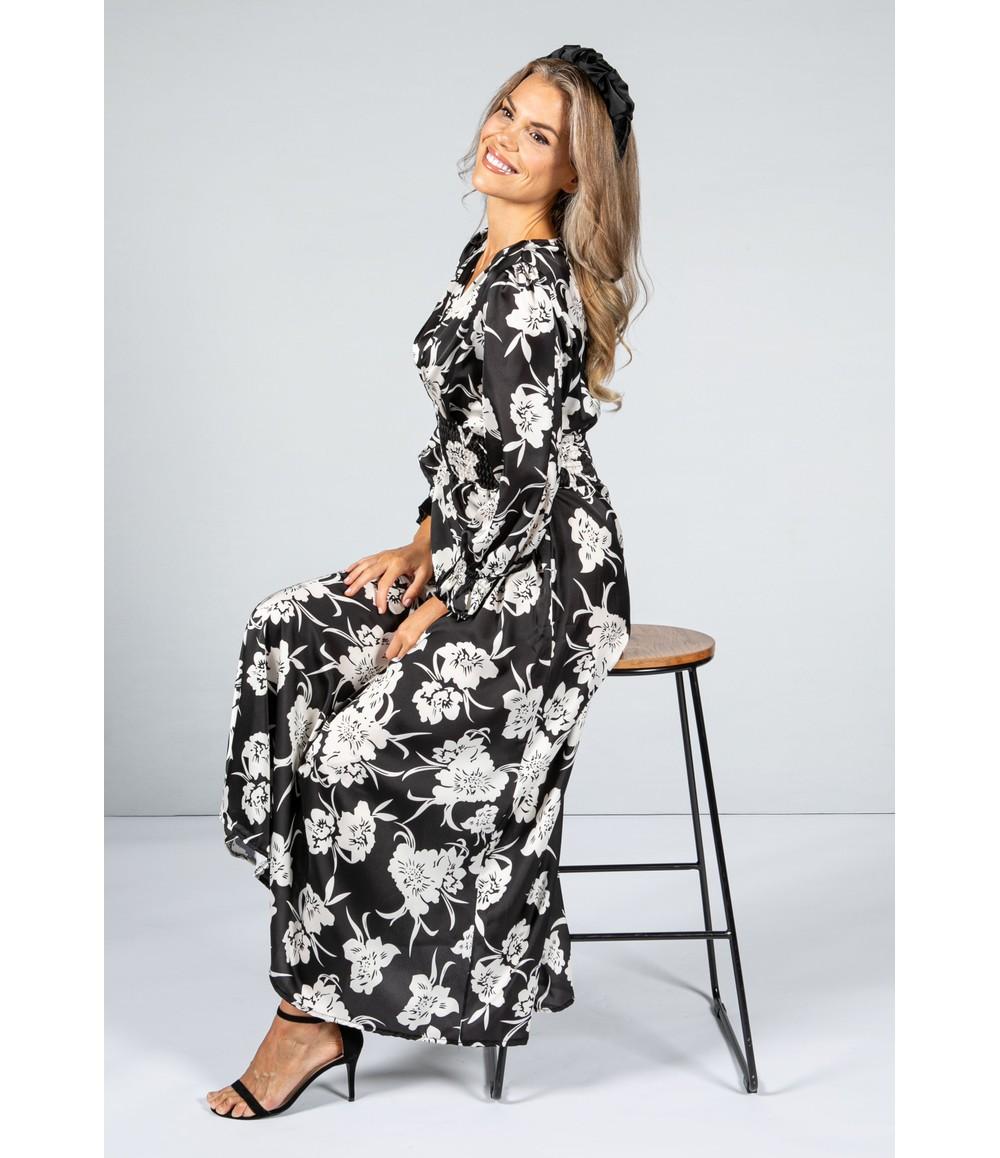 Zapara Rose Blossom Silk Feel Dress with Smocking Waist