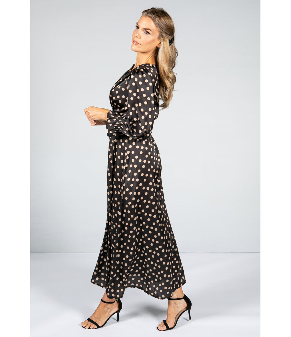 Zapara Camel Polka Dot Silk Feel Dress with Smocking Waist