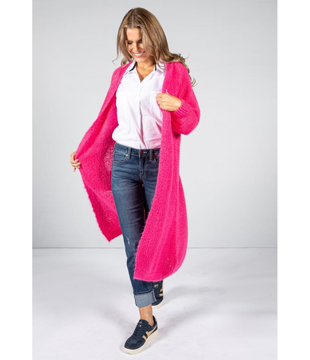 Zapara Bright Fuchsia Chunky Knit Long Cardigan