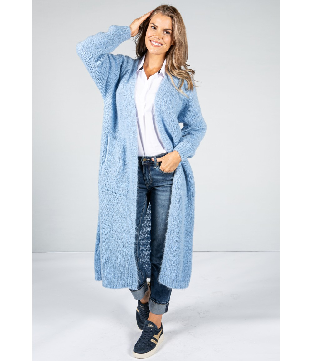 Zapara Powder Blue Chunky Knit Long Cardigan