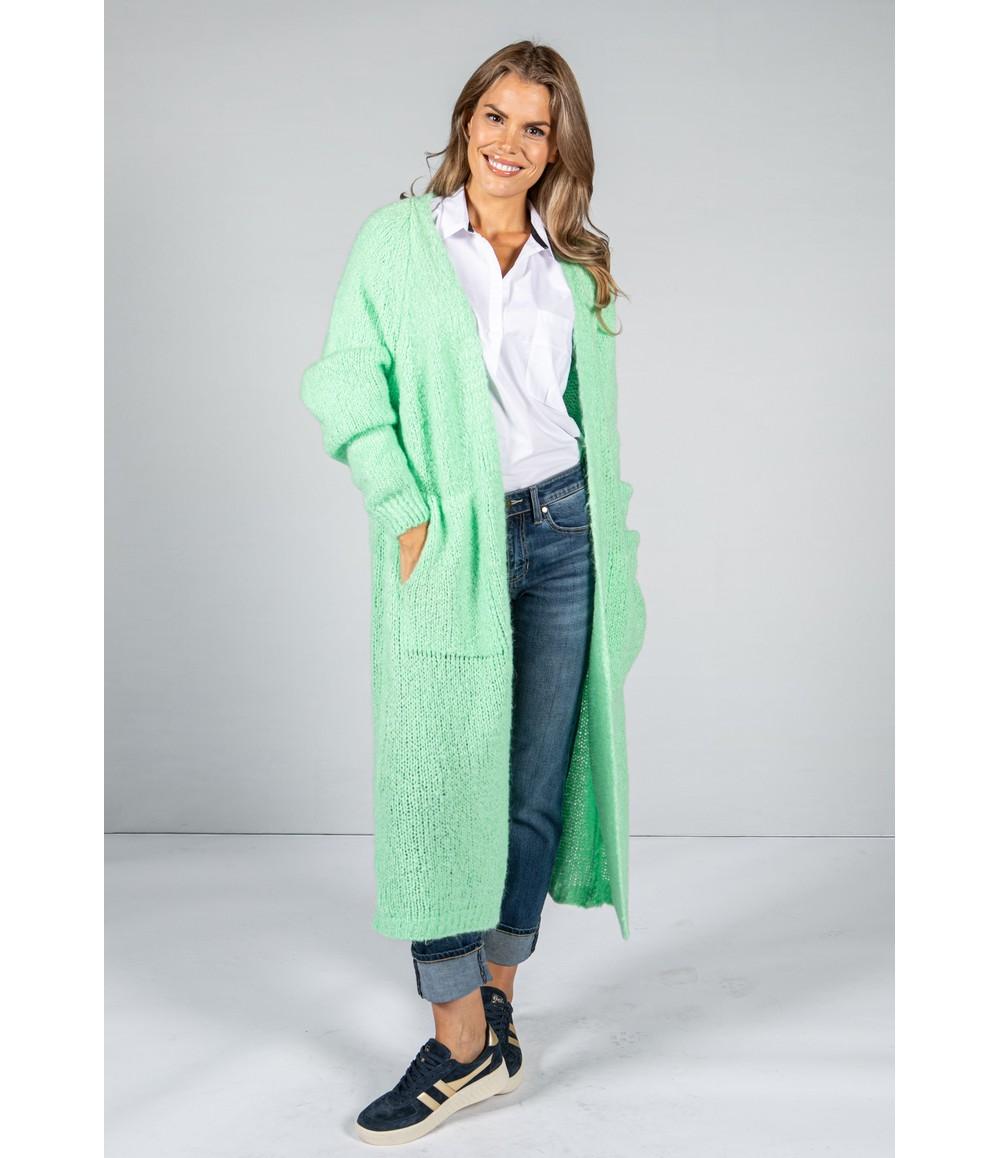Zapara Bright Mint Chunky Knit Long Cardigan