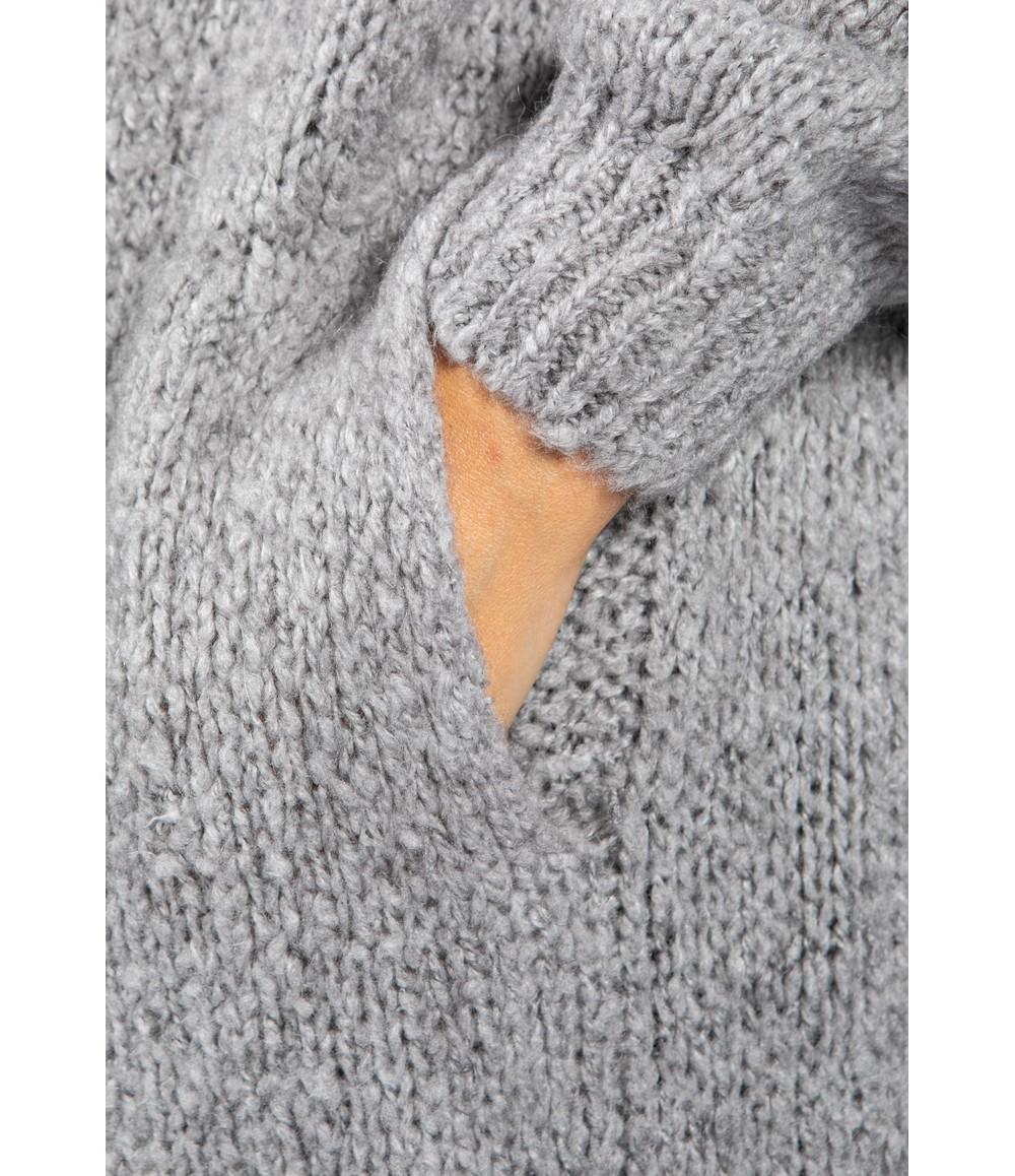 Zapara Mid Grey Chunky Knit Long Cardigan