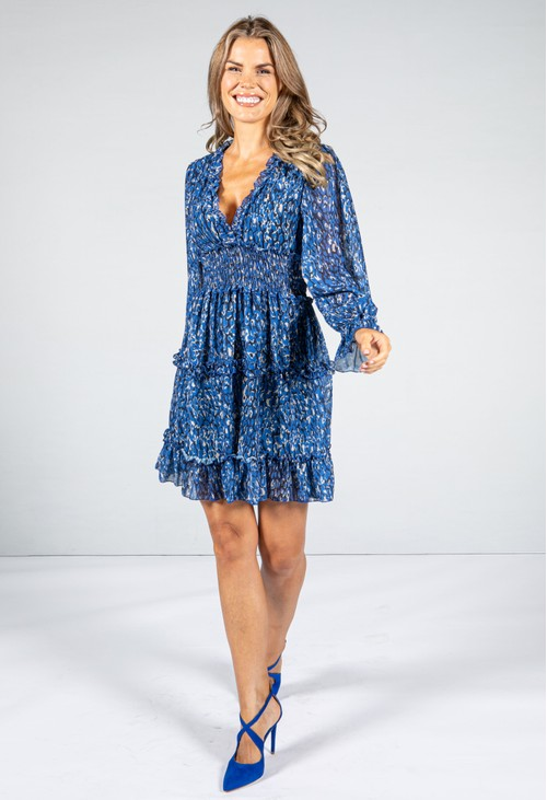 Emporium ROYAL BLUE RUFFLE DRESS WITH LONG SLEEVES