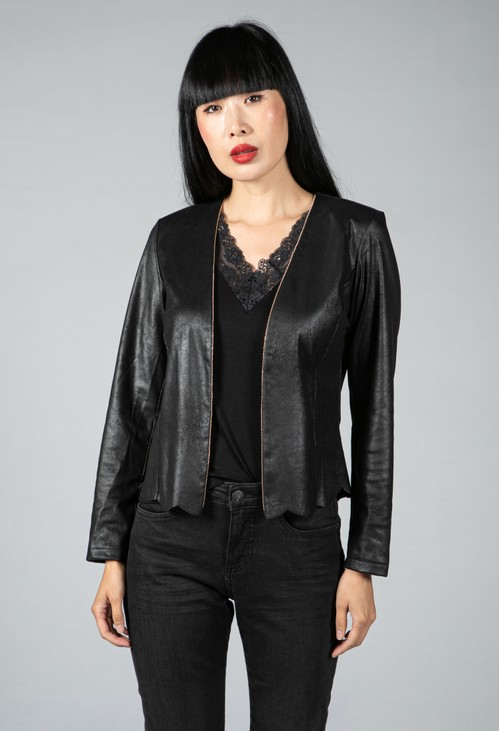 Sophie B Faux Vintage Leather Jacket with Gold Bead Embellishment
