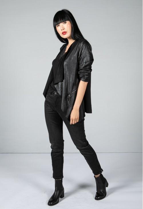 Sophie B Faux Vintage Leather Look Jacket in Black
