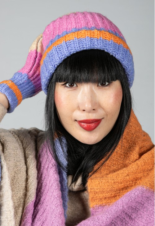 Pieces Colour Block Knit Beanie in Lilac