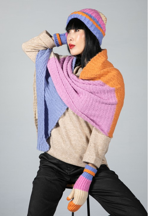 Pieces Colour Block Knit Scarf in Lilac