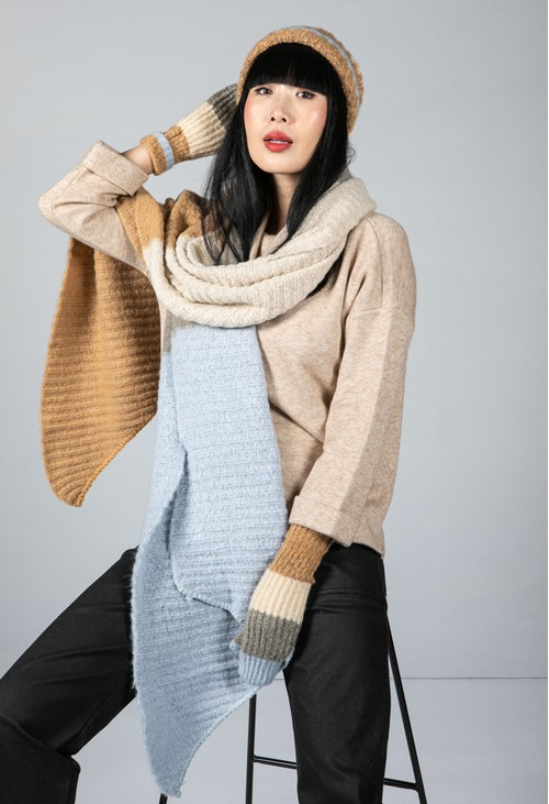 Pieces Colour Block Knit Scarf in Dusted Blue