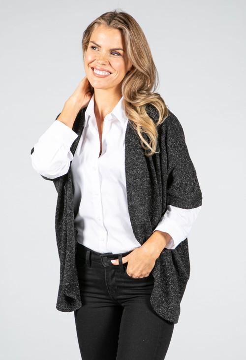 Sophie B Lurex Knit Cardi in Black