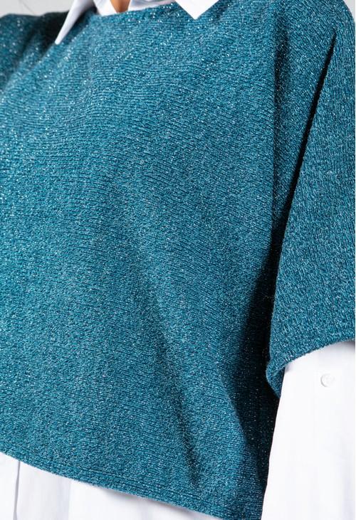 Sophie B Lurex Knit Pullover in Teal