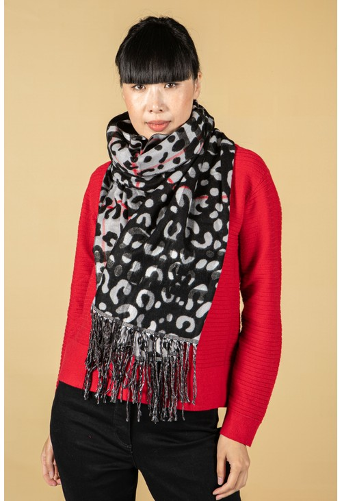 Betty Barclay Leopard & Check Print Fringe Scarf in Grey