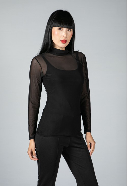 Sophie B Polo Neck Mesh Top