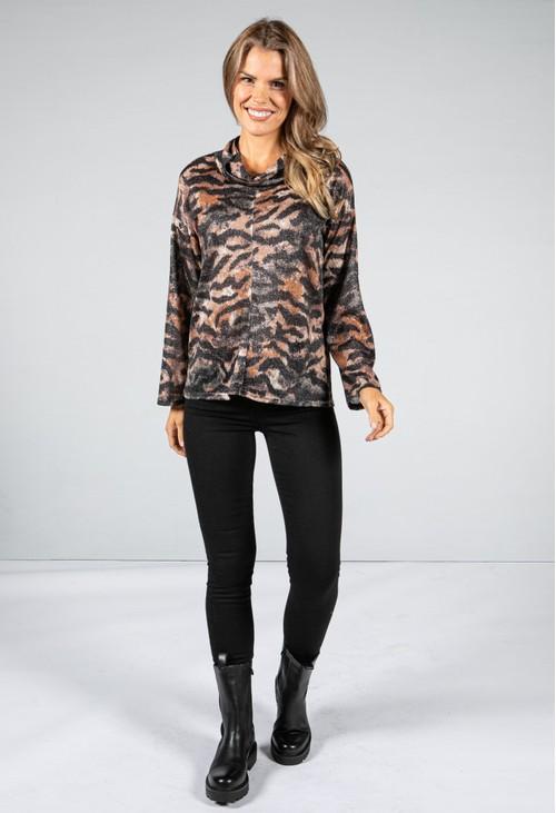 Zapara Tiger Print Lurex Cowl Knit in Brown