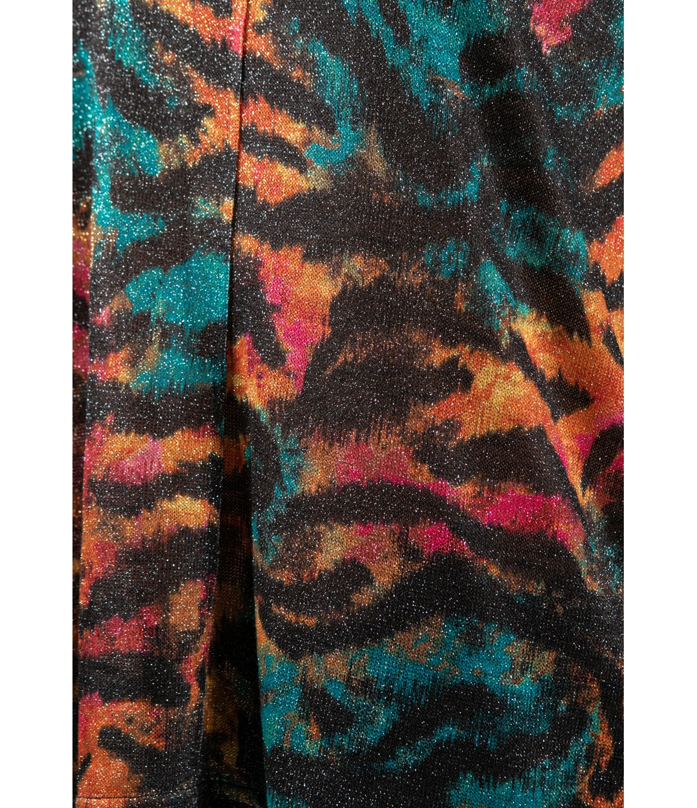 Zapara Tiger Print Lurex Cowl Knit in Tropical