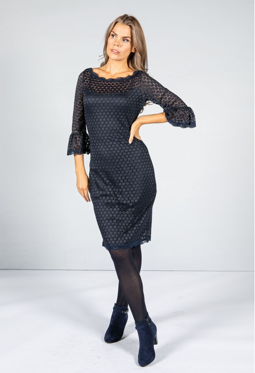 Zapara Dot Embroidered Lace Dress in Navy