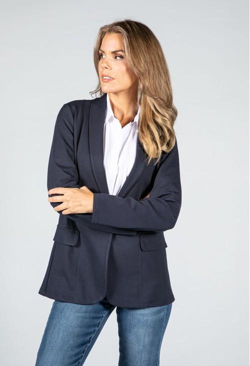 Sophie B Classic Button Front Blazer in Navy