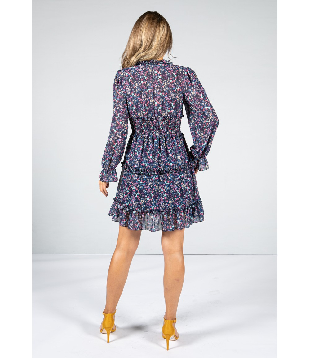 Emporium NAVY RUFFLE DRESS WITH LONG SLEEVES