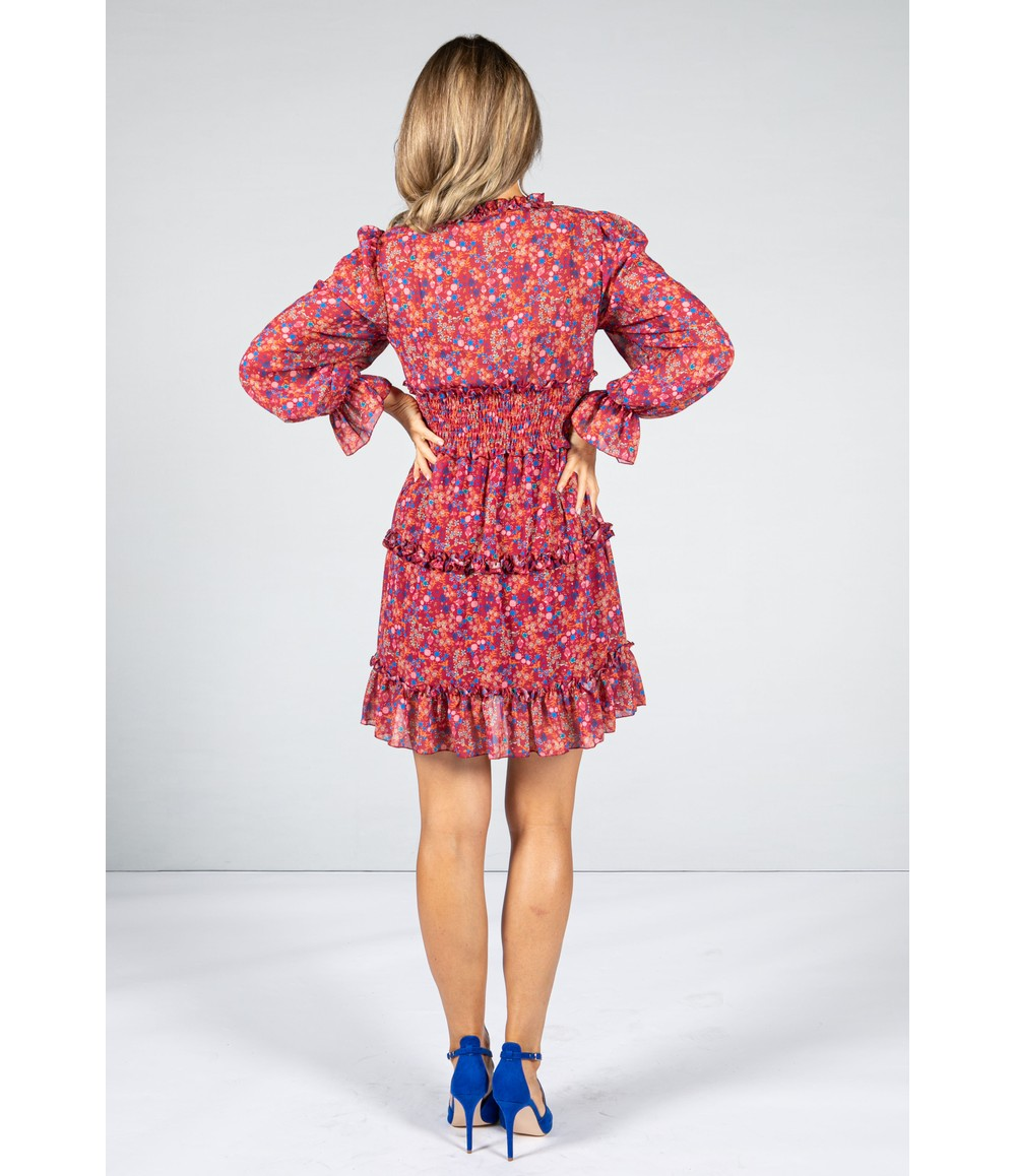 Emporium RED RUFFLE DRESS WITH LONG SLEEVES