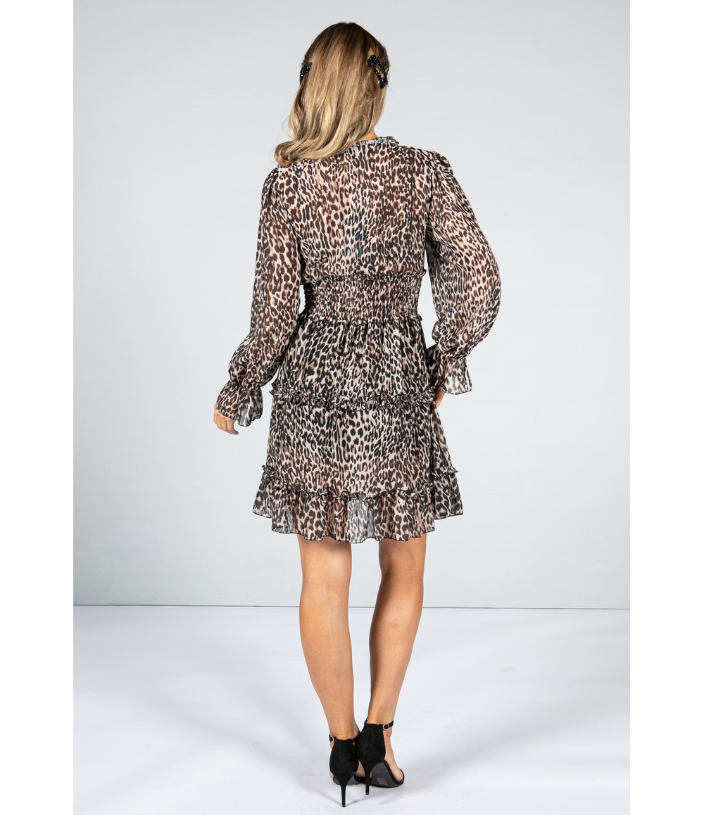 Emporium LEOPARD PRINT RUFFLE DRESS WITH LONG SLEEVES