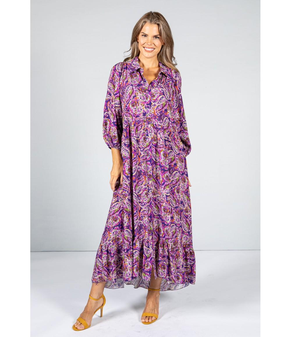 Pamela Scott Paisley Pop Print Maxi Dress in Fuchsia