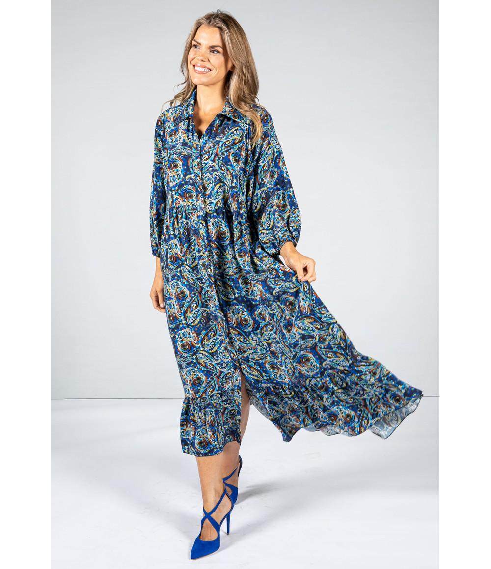 Pamela Scott Paisley Pop Print Maxi Dress in Cobalt & Navy